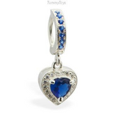 Blue Belly Ring with CZ Heart Drop Charm | Sterling Silver Clasp - TummyToys