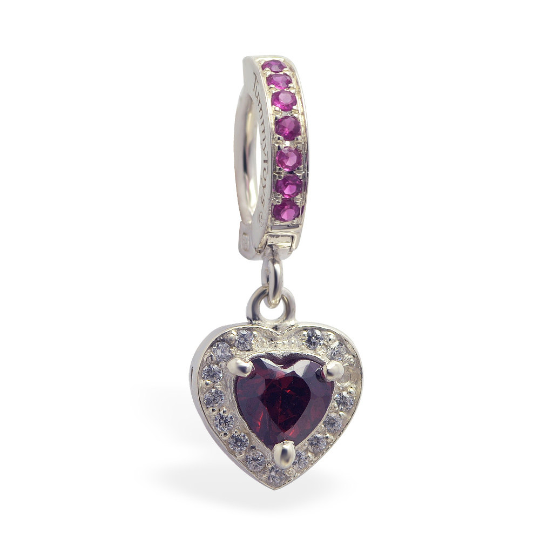 Dazzling Vibrant Red Heart Charm On CZ Silver Belly Ring - TummyToys