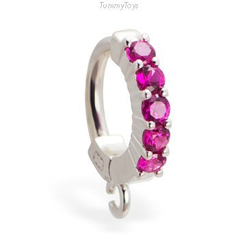 Hot Pink Belly Ring | CZ & Sterling Silver | Customizable | Make your own - TummyToys