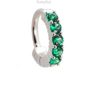 Green CZ Belly Ring | Solid Sterling Silver with 5 Large Green CZ Stones - TummyToys