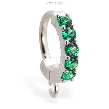 Green CZ Belly Ring with Jump Ring | Customizable | Make your own - TummyToys