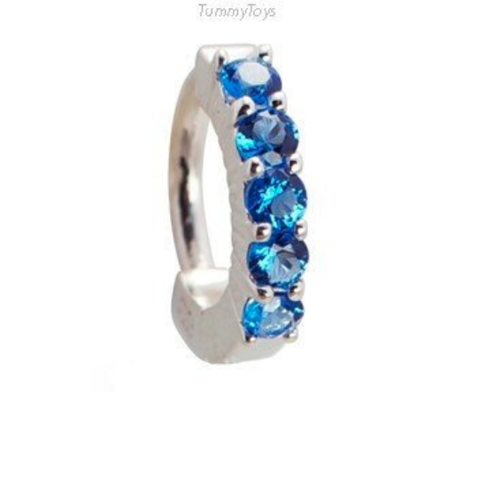 Silver and Blue Belly Ring | 5 Large Sapphire Blue CZ Stones - TummyToys