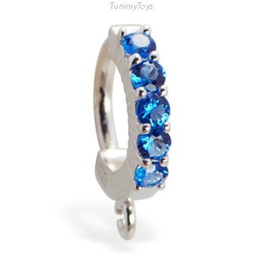 Silver Tummytoys Sapphire Blue Belly Button Ring with 5 CZ's and Jump Ring - TummyToys