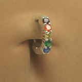 Silver Tummytoys Rainbow Belly Button Ring With 5 CZ's - TummyToys