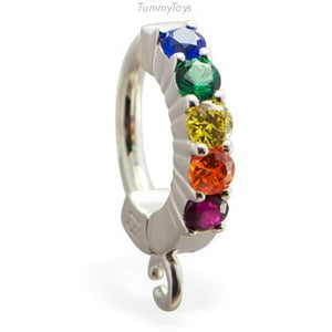 Design Your Own Rainbow Belly Button Ring with 5 CZ's | Customizable | Make your own - TummyToys
