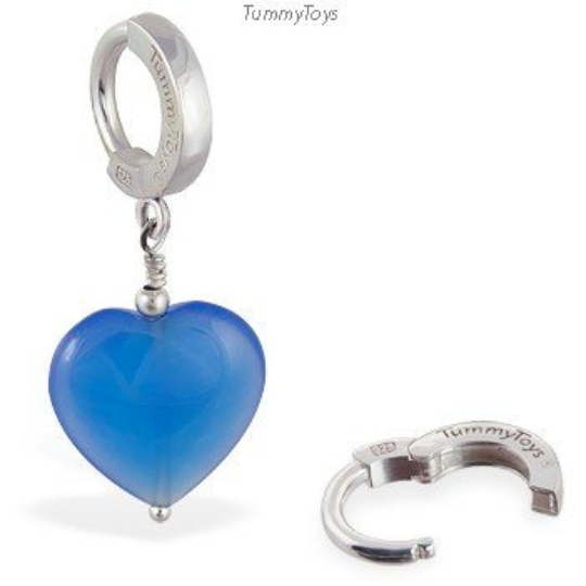 Blue Glass Heart Belly Button Ring | .925 Sterling Silver - TummyToys