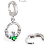 Irish Love Silver Claddagh Belly Ring with Green CZ Heart Dangle - TummyToys