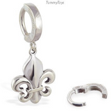 Fleur De Lis Belly Ring | Solid Sterling Silver Clasp & Charm - TummyToys
