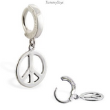 Peace Belly Ring | Solid Sterling Silver with Peace Sign Dangle Charm - TummyToys
