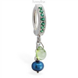 Natural Green Peridot And Freshwater Blue Pearl Charm On Vibrant Green Pave Clasp - TummyToys