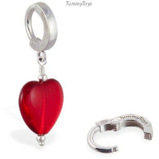Sterling Silver Dangling Red Heart Belly Ring - TummyToys