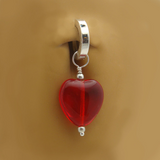 Dangling Red Heart Swinger Charm On Sterling Silver Belly Ring - TummyToys