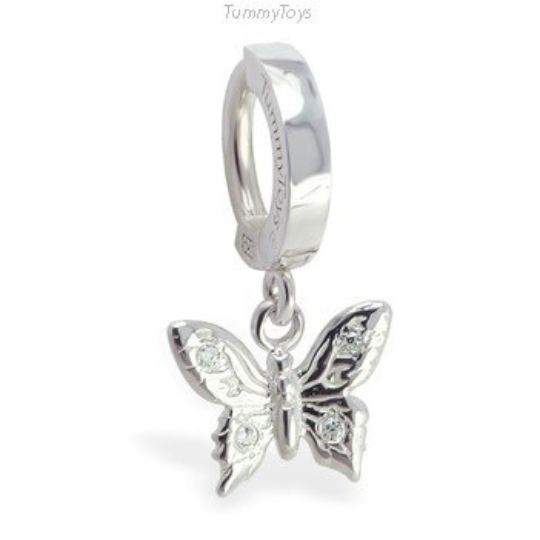 Solid Silver Butterfly Belly Ring Charm with CZ Stones - TummyToys
