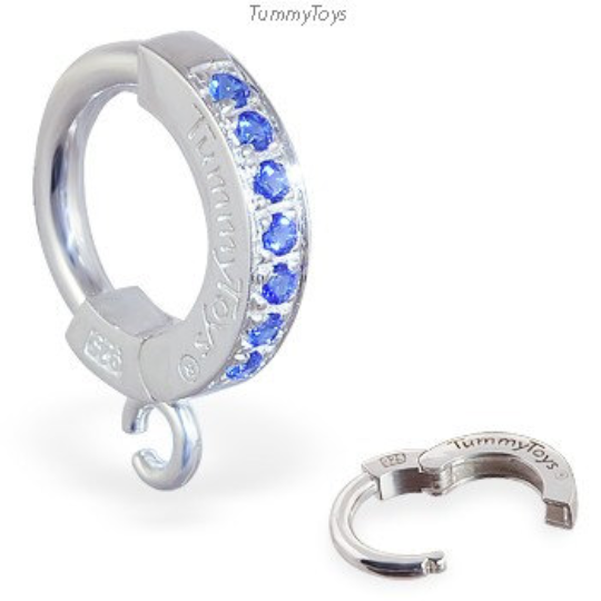 Silver and Blue Belly Ring | Customizable Tummytoys Sleeper Ring With Blue CZ Gems - TummyToys