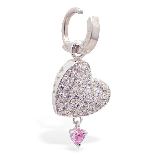 Changeable Stunning Cz Heart Swinger Charm Made In Sterling Silver - TummyToys