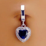 Blue Belly Ring with CZ Heart | Sterling Silver Clasp with Blue Heart Dangle Charm - TummyToys