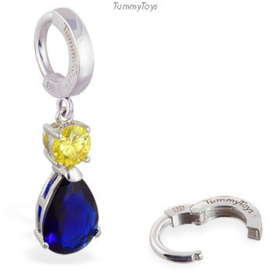 Sapphire Blue Belly Ring | Sterling Silver Clasp with CZ Dangle Charm - TummyToys