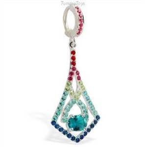 Hot Multi-Colored Cz Long Dangle On Hot Pink Cz Belly Button Ring - TummyToys