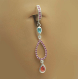 Unique CZ Dangle Charm On Hot Pink Belly Ring - TummyToys