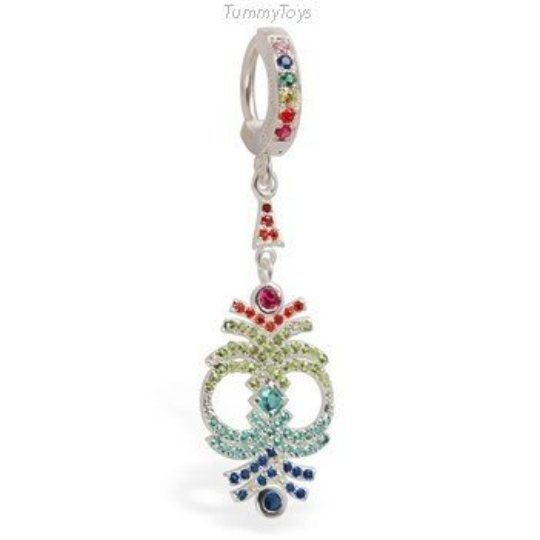 Rainbow Belly Ring with Sparkling CZ Multi-Colored Dangle Charm - TummyToys