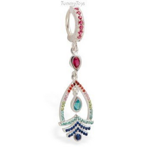 Unique Colorful Belly Button Ring with CZ Dangle | Silver & Hot Pink CZ Clasp - TummyToys