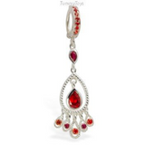 Vibrant Silver and Orange Belly Ring with Orange and Pink CZ Gem Dangle - TummyToys