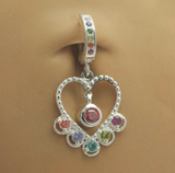 Rainbow Heart Belly Ring | Sterling Silver with Rainbow CZ Stones - TummyToys