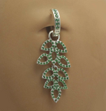 Green Cz Leaf Design Glitter Belly By Tummytoys - TummyToys