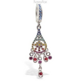 Unique Multi-Colored CZ Dangle on Sapphire Blue CZ Belly Button Ring - TummyToys