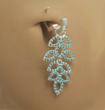 Light Blue CZ Leaf Design Glitter Belly By Tummytoys - TummyToys