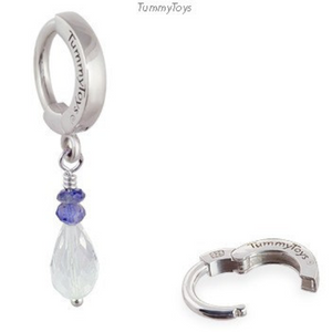 Crystal Belly Ring with Iolite Beads | Silver Clasp with Crystal & Iolite Dangle - TummyToys
