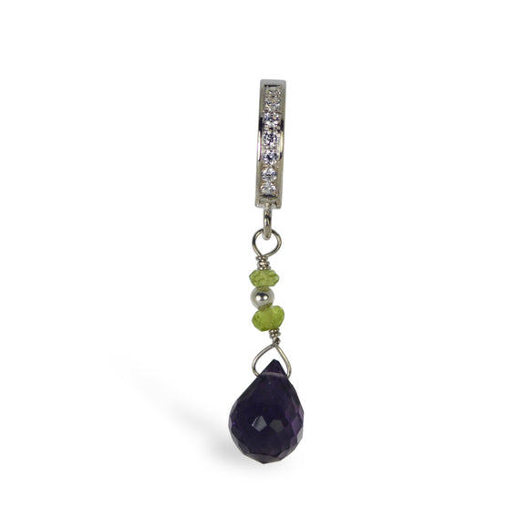 Amethyst and peridot Belly Ring | Clear CZ Clasp with Amethsyt Dangle Charm - TummyToys