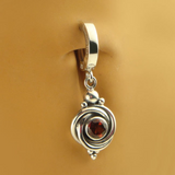 Natural Garnet Sterling Silver Knot Belly Button Ring - TummyToys