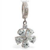 Sparkling CZ Flower Belly Ring on Silver and Pave CZ Clasp