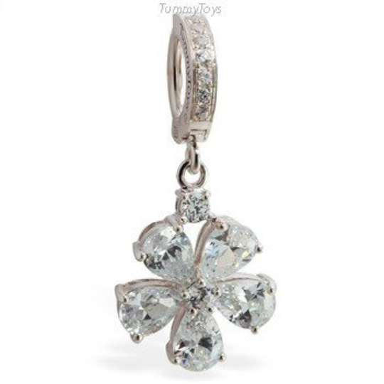 Sparkling CZ Flower Belly Ring on Silver and Pave CZ Clasp - TummyToys