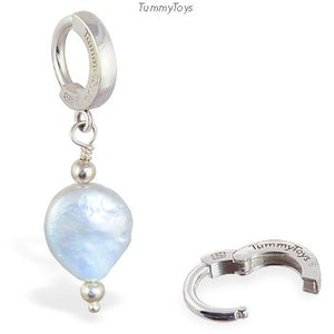 Grey White Pearl Belly Ring | Sterling Silver Clasp - TummyToys