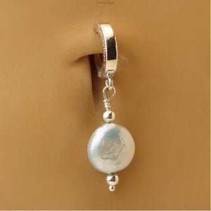 White Pearl Belly Ring | Sterling Silver Clasp - TummyToys
