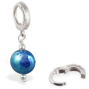 TummyToys Freshwater Blue Pearl Dangle Belly Ring - TummyToys