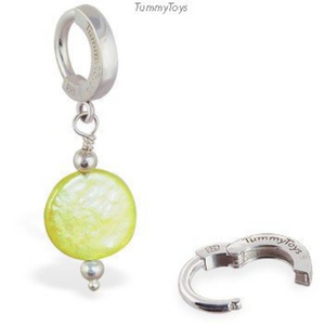 Vibrant Green Pearl Dangle Belly Ring | Solid Silver Clasp - TummyToys