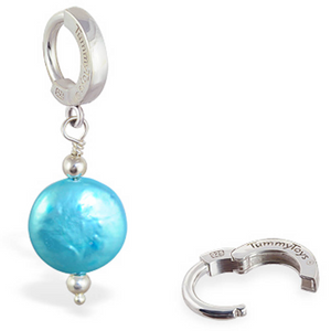 TummyToys Freshwater Teal Pearl Dangle Belly Button Ring - TummyToys