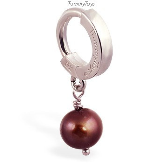 Chocolate Pearl Belly Ring | Solid Silver Clasp with Pearl Dangle - TummyToys