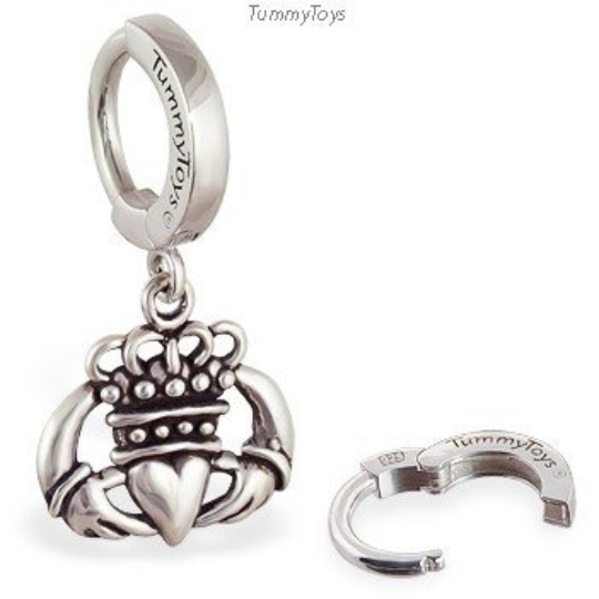 Solid Silver Claddagh Belly Ring | .925 Sterling Silver - TummyToys