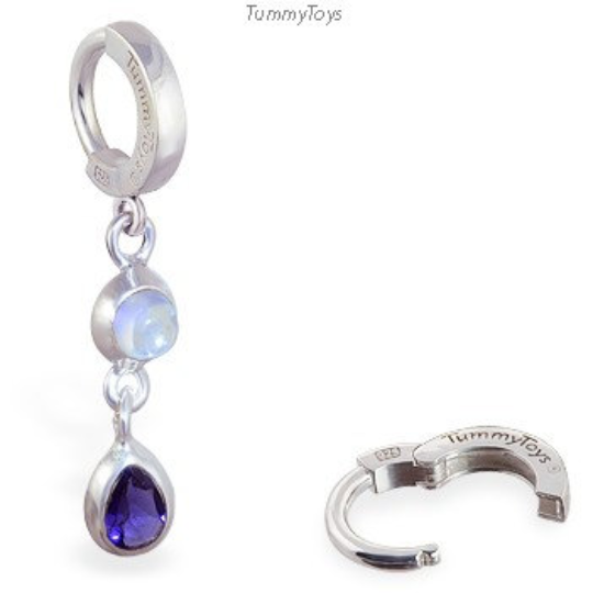 TummyToys Iolite and Moonstone Belly Ring | Sterling Silver Clasp - TummyToys