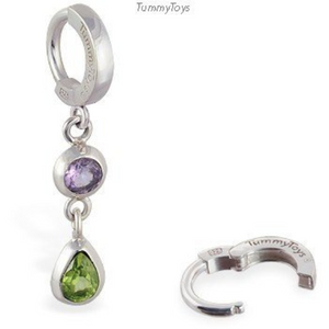 Peridot and Amethyst Belly Ring | Silver Clasp with Beautiful Gemstone Dangle - TummyToys