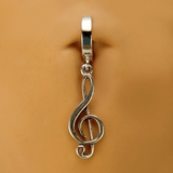 Sterling Silver Music Note Charm Belly Button Ring - TummyToys