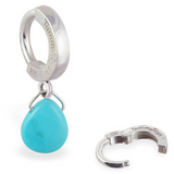 TummyToys Silver & Turquoise Belly Button Ring | Silver Clasp with Teardrop Charm - TummyToys