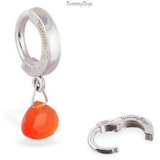 Fire Opal Belly Ring | Silver Clasp - TummyToys