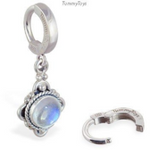 Moonstone Drop Charm On Plain Sterling Silver Clasp By Tummytoys