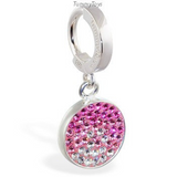 Stunning Pink Crystal Belly Ring | Solid Silver Clasp with Round Pink CZ Crystal Dangle - TummyToys