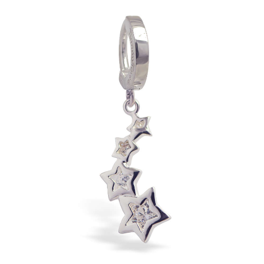 Sterling Silver Belly Button Ring with Shooting Stars Dangle Charm | Silver and Clear CZ - TummyToys